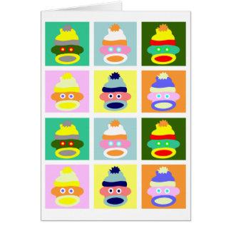 Sock Monkey Pop Art Card