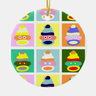 Sock Monkey Pop Art Round Ceramic Ornament