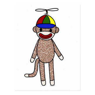 Sock Monkey Propeller Hat Postcard