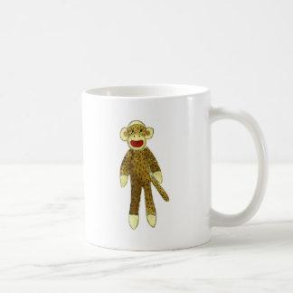 sock monkey red lips classic white coffee mug