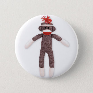 sock monkey. retro 2 inch round button
