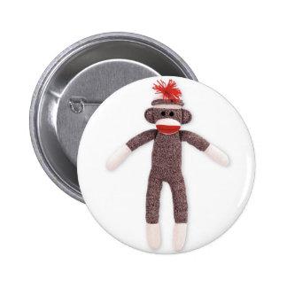 sock monkey. retro 2 inch round button