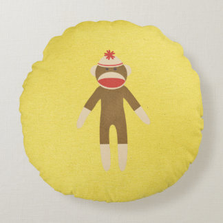 Sock Monkey Reversible Round Pillow