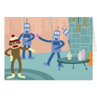 Sock Monkey Robot Cocktail Party Card