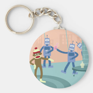 Sock Monkey Robot Cocktail Party Keychain