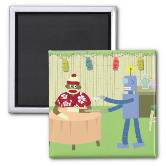 Sock Monkey Robot Waiter Magnet