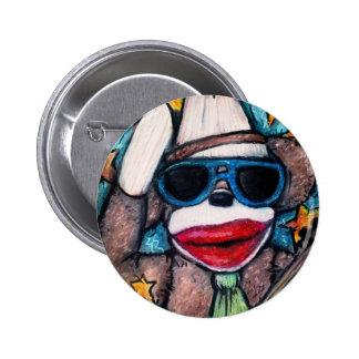 Sock Monkey Rock Star 2 Inch Round Button