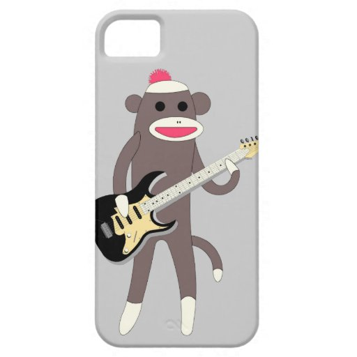 Sock Monkey Rocks w/ Electric Guitar iPhone 5 Covers