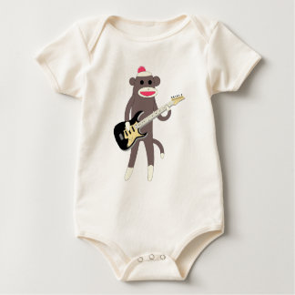 Sock Monkey Rocks with Electric Guitar - Baby Baby Bodysuit