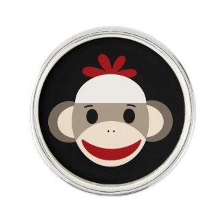 Sock Monkey Round Lapel Pin, Silver Plated Lapel Pin