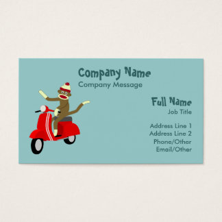 Sock Monkey Scooter Business Card