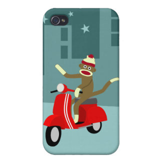Sock Monkey Scooter iPhone 4 Covers