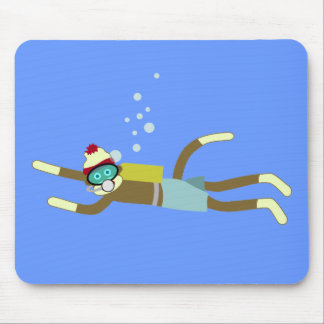 Sock Monkey Scuba Diver Mouse Pad