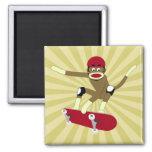 Sock Monkey Skateboarder Fridge Magnets