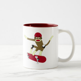 Sock Monkey Skateboarder Mugs