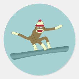 Sock Monkey Snowboarder Classic Round Sticker