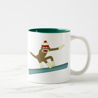 Sock Monkey Snowboarder Two-Tone Coffee Mug