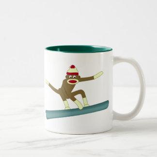 Sock Monkey Snowboarder Two-Tone Mug