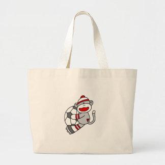 Sock Monkey Soccer Large Tote Bag