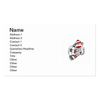 Sock Monkey Soccer T shirts and Gifts Double-Sided Standard Business Cards (Pack Of 100)