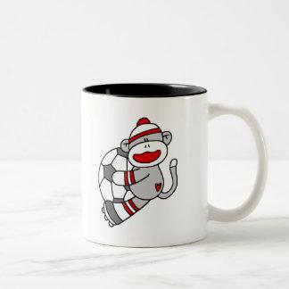 Sock Monkey Soccer Two-Tone Coffee Mug
