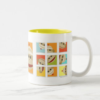 Sock Monkey Socks Blocks by Kelly Schwark Two-Tone Coffee Mug