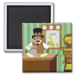 Sock Monkey Steampunk Scientist Square Magnet