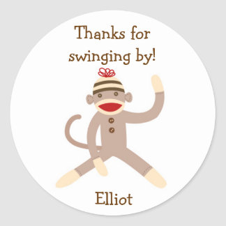 Sock Monkey Stickers Label