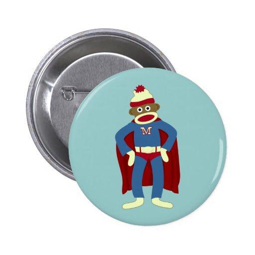 Sock Monkey Superhero Button
