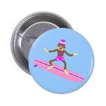 Sock Monkey Surfer Girl 2 Inch Round Button
