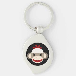Sock Monkey Swirl Metal Keychain