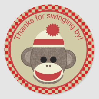 Sock Monkey thanks for swinging by sticker red