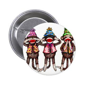 Sock Monkey Trio - See, Hear, Speak No Evil 2 Inch Round Button