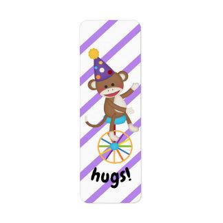 Sock Monkey Unicycle Wheel Hugs Planner Label