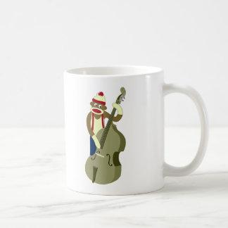 Sock Monkey Upright Bass Player Classic White Coffee Mug