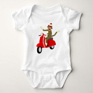 Sock Monkey Vespa Scooter Baby Bodysuit