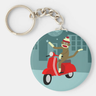 Sock Monkey Vespa Scooter Key Chain