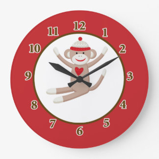 Sock Monkey Wall Clock (Red)