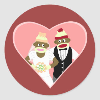 Sock Monkey Wedding Classic Round Sticker