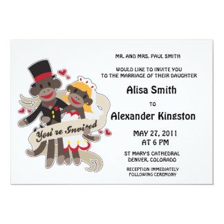 SOCK MONKEY Wedding Invitations Announcements