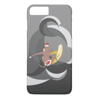 Sock Monkey went Surfing Bananas on Black Waves iPhone 7 Plus Case