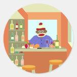 Sock Monkey Wine Taster Classic Round Sticker