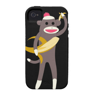 Sock Monkey with Banana Swords Case-Mate iPhone 4 Covers