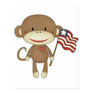 Sock monkey with flag postcard