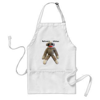 Sock Monkey with Personalized Name Aprons