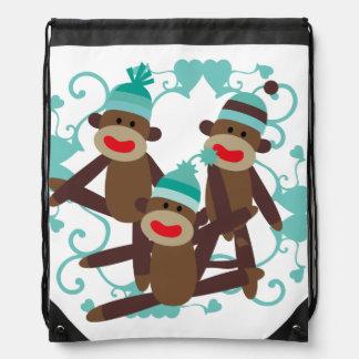 Sock Monkeys Blue Drawstring Bag