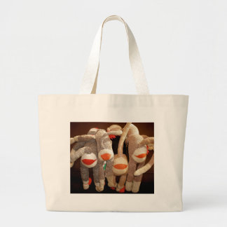 sock monkeys flipside large tote bag