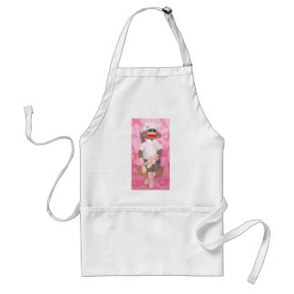 Sock Monkeys for the Cure Pink RibbonApron Adult Apron