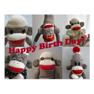 Sock Monkeys Happy Birthday Card Postcard