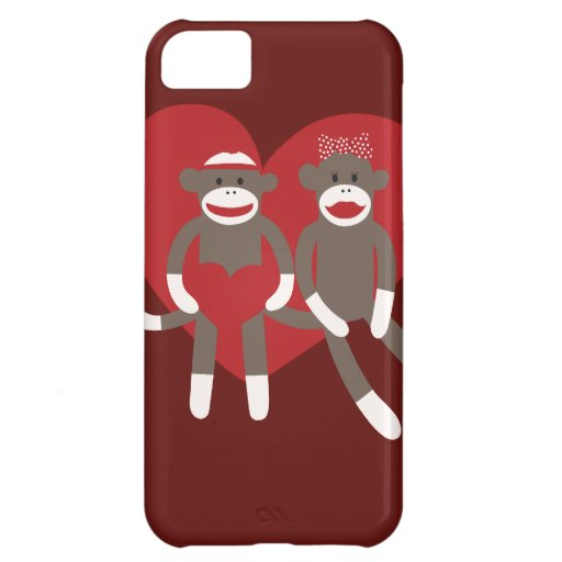 Sock Monkeys in Love Hearts Valentine's Day Gifts iPhone 5C Case